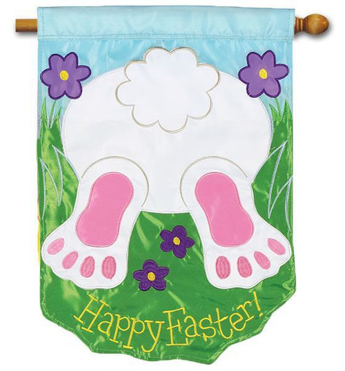 "Bunny Tail Applique Easter House Flag - 28"" x 40"" - 2 Sided Message"