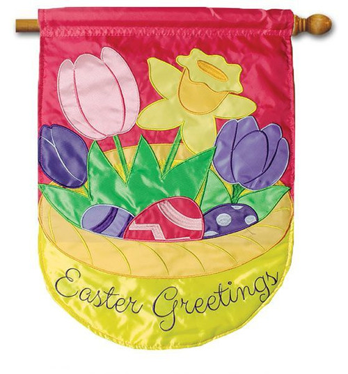 "Easter Basket Bouquet Applique House Flag - 28"" x 40"" - 2 Sided Message"