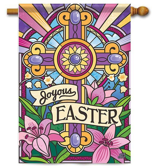 "Joyous Easter House Flag - 28"" x 40"" - 2 Sided Message"