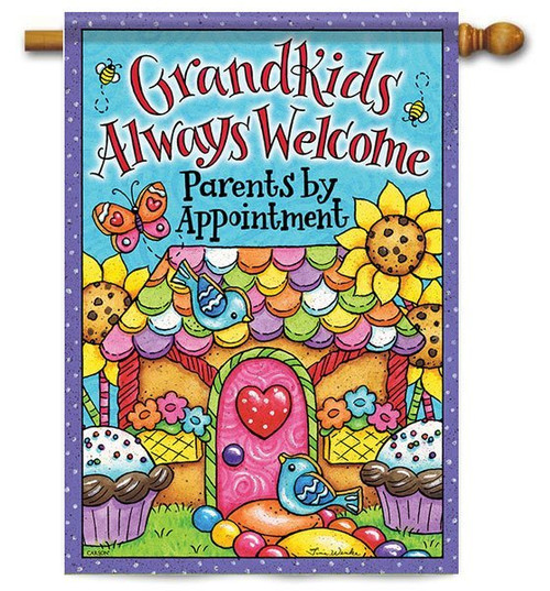 "Grandkids Welcome House Flag - 28"" x 40"" - 2 Sided Message"