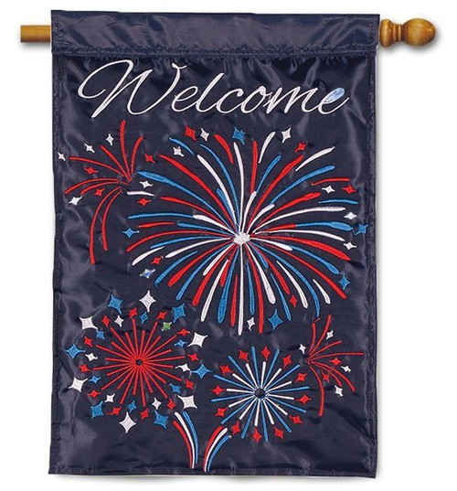 "Fireworks Applique House Flag - 28"" x 40"" - 2 Sided Message"