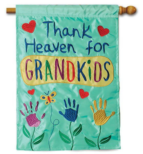 "Thank Heaven for Grandkids Applique House Flag - 28"" x 40"" - 2 Sided Message"
