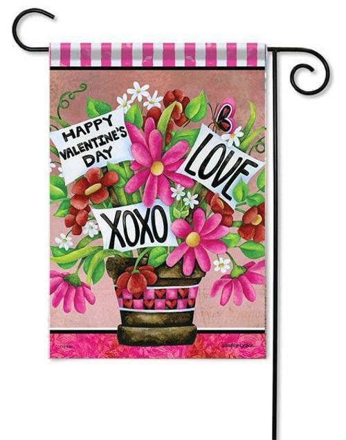"""Valentine Flower Basket Garden Flag - 13"""" x 18"""" - 2-Sided Message"""