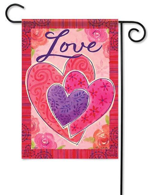 """Three Hearts Valentine Garden Flag - 13"""" x 18"""" - 2-Sided Message"""