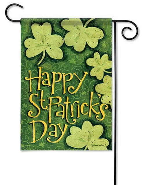 "Dancing Clovers Garden Flag - 13"" x 18"" - 2-Sided Message"
