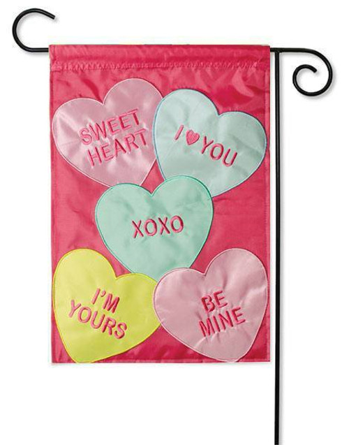 "Candy Hearts Applique Garden Flag - 13"" x 18"" - 2-Sided Message - Flag Trends"