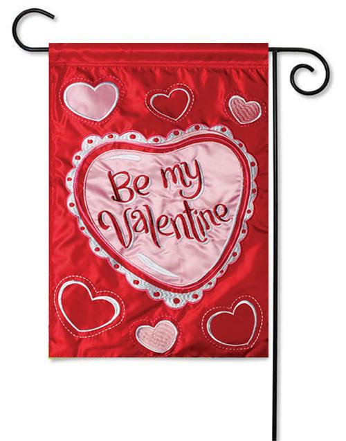 "Be My Valentine Applique Garden Flag - 13"" x 18"" - 2-Sided Message"