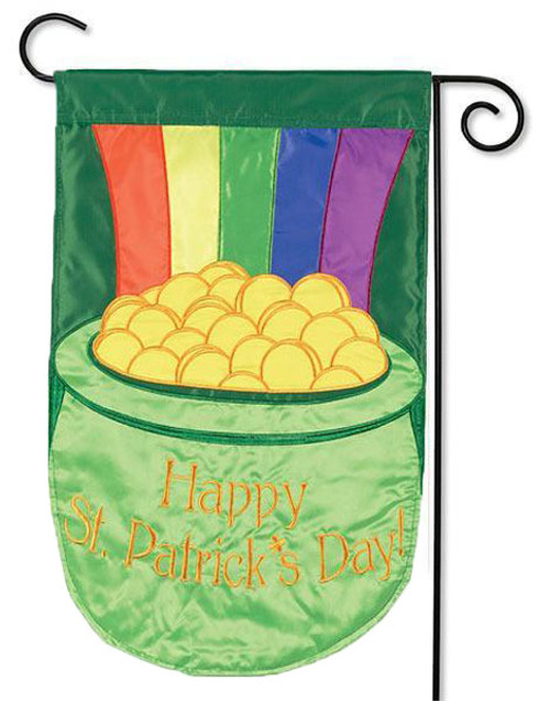 "Pot of Gold Applique Garden Flag - 13"" x 18"" - 2-Sided Message"