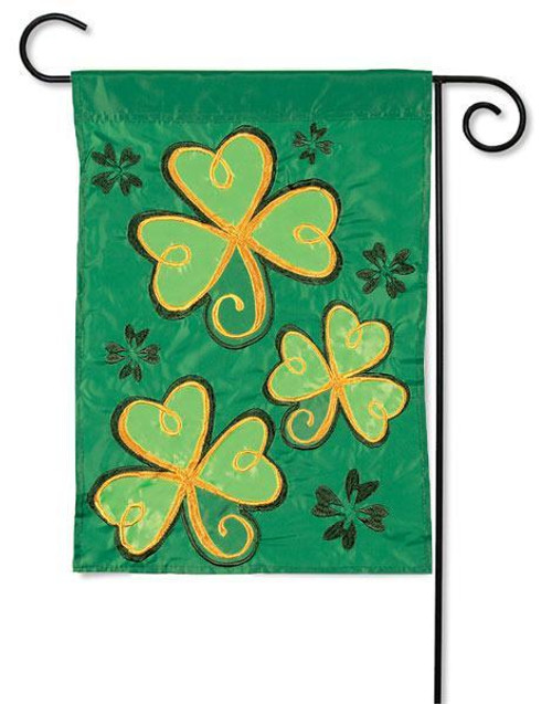 "Shamrocks St. Pat's Applique Garden Flag - 13"" x 18"" - Flag Trends"