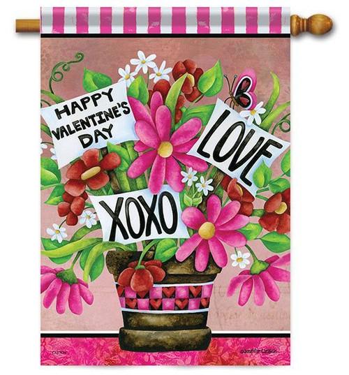 "Valentine Flower Basket House Flag - 28"" x 40"" - 2-Sided Message"