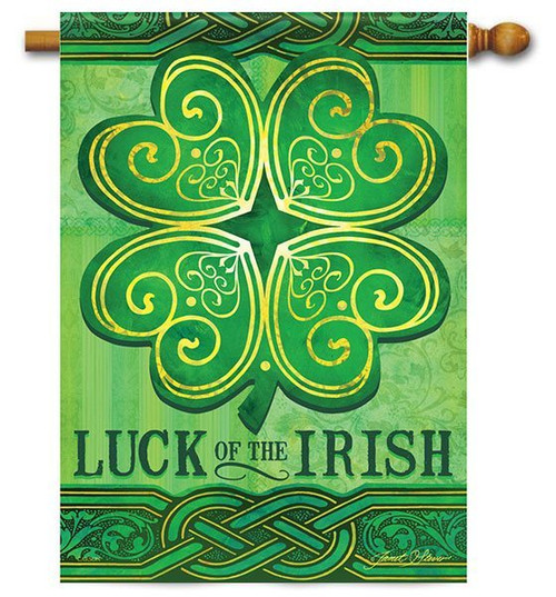 "Luck of the Irish House Flag - 28"" x 40"" - 2-Sided Message"
