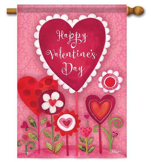"""Valentine Garden House Flag - 28"""" x 40"""" - 2-Sided Message"""