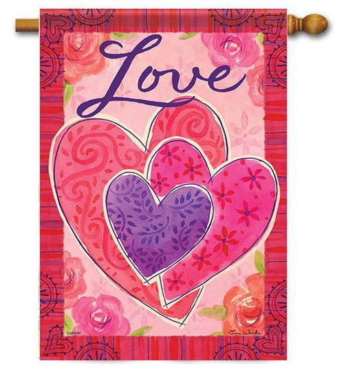 """Three Hearts Valentine House Flag - 28"""" x 40"""" - 2-Sided Message"""