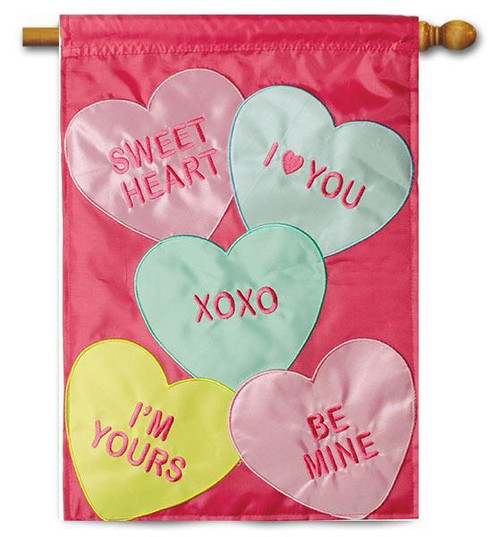 """Candy Hearts Applique House Flag - 28"""" x 40"""" - 2-Sided Message - Flag Trends"""