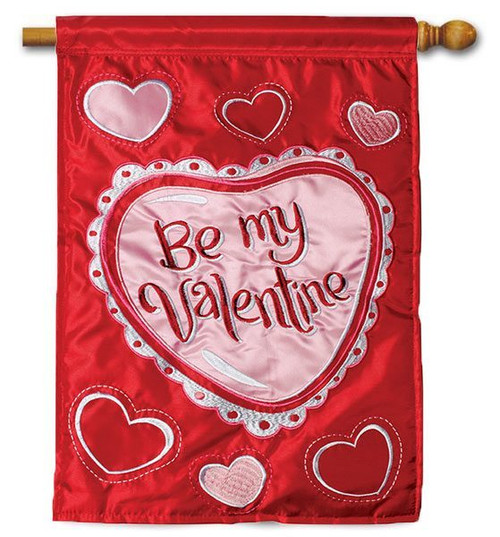 "Be My Applique Valentine House Flag - 28"" x 40"" - 2-Sided Message"