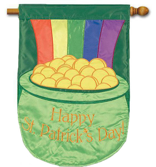 "Pot of Gold Applique House Flag - 28"" x 40"" - 2-Sided Message"
