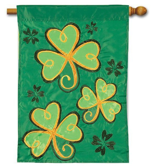 "Shamrocks Applique House Flag - 28"" x 40"" - Flag Trends"