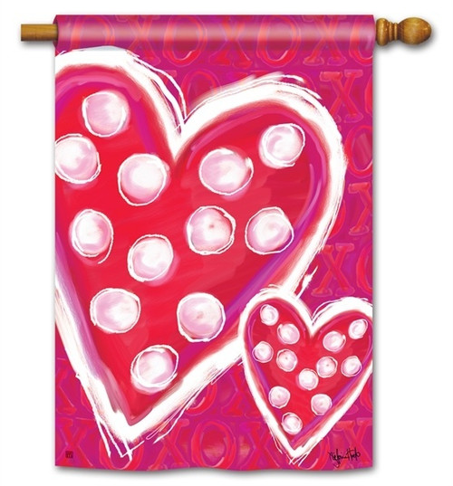 "Valentine Wishes House Flag - 28"" x 40"" - BreezeArt"