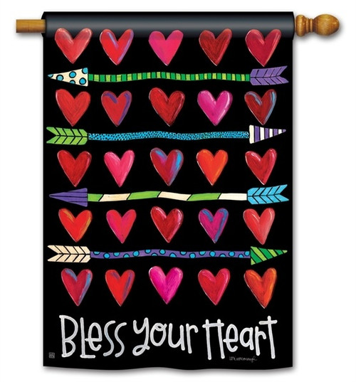 "Hearts and Arrows Valentine House Flag - 28"" x 40"" - 2 Sided Message"
