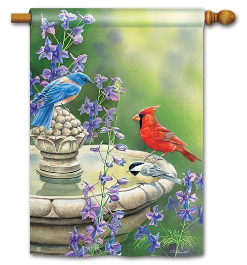 "Birdbath Gathering House Flag - 28"" x 40"" - BreezeArt"