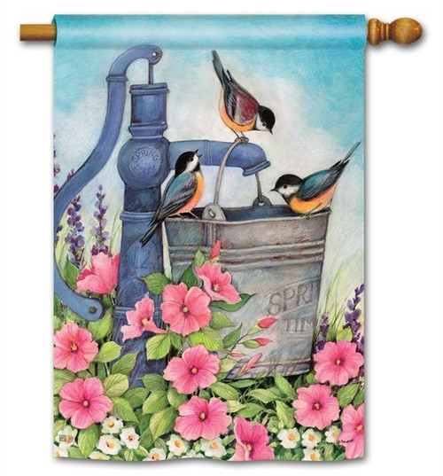 "Birds of Summer House Flag - 28"" x 40"" - BreezeArt"
