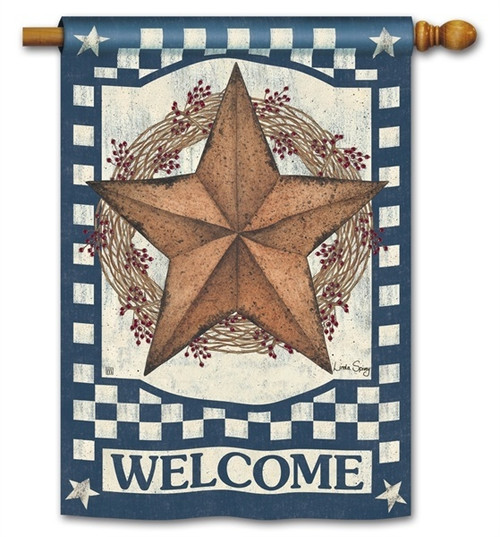 "Blue Barn Star House Flag - 28"" x 40"" - BreezeArt - 2 Sided Message"
