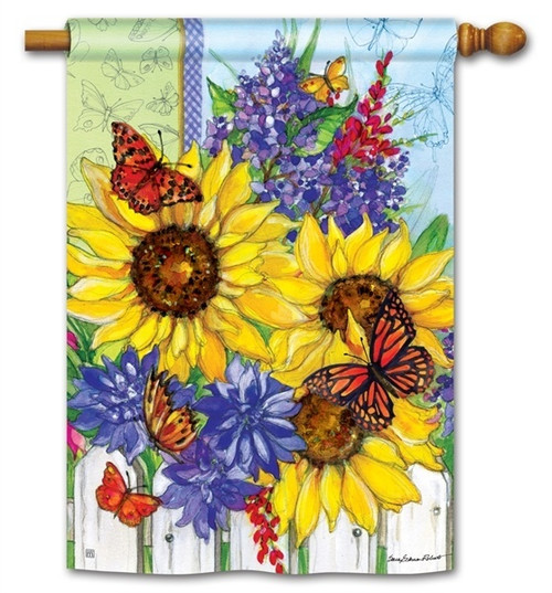 "Butterflies and Blossoms House Flag - 28"" x 40"" - BreezeArt"
