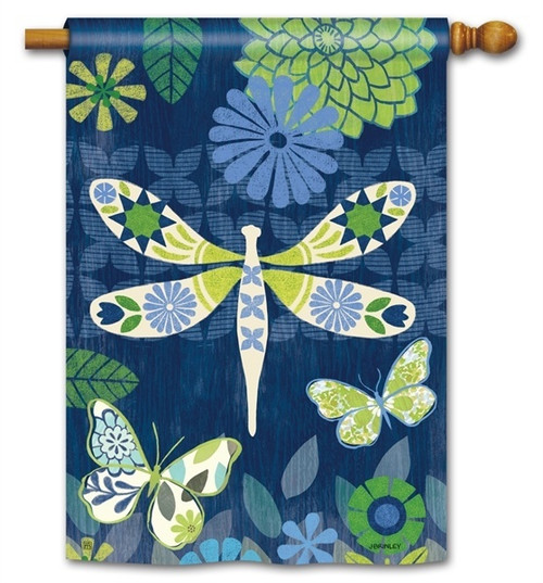 "Capistrano Dragonfly House Flag - 28"" x 40"" - BreezeArt"