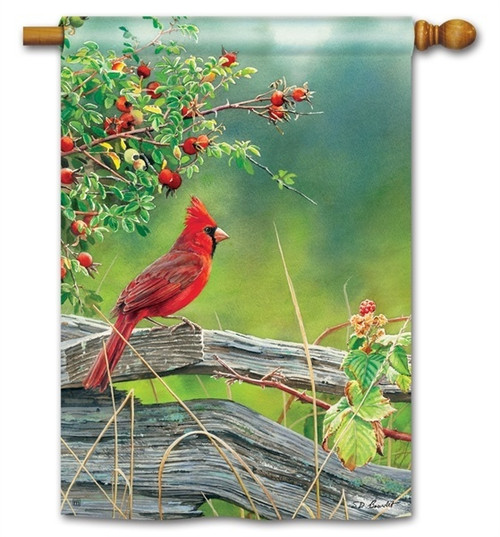 "Cardinal Lookout House Flag - 28"" x 40"" - BreezeArt"