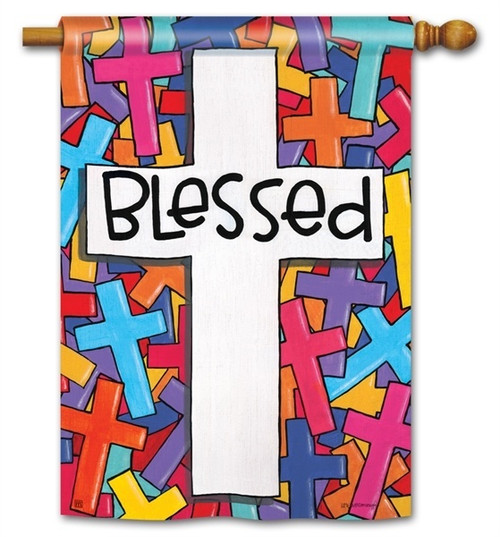 "Colorful Crosses Easter House Flag - 28"" x 40"" - BreezeArt"
