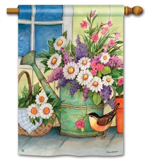 "Front Porch Flowers House Flag - 28"" x 40"" - BreezeArt"