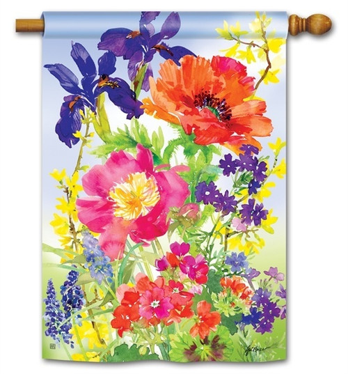 "Garden Blooms House Flag - 28"" x 40"" - BreezeArt"