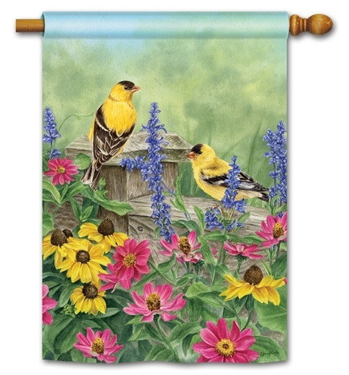 "Garden Finches House Flag - 28"" x 40"" - BreezeArt"