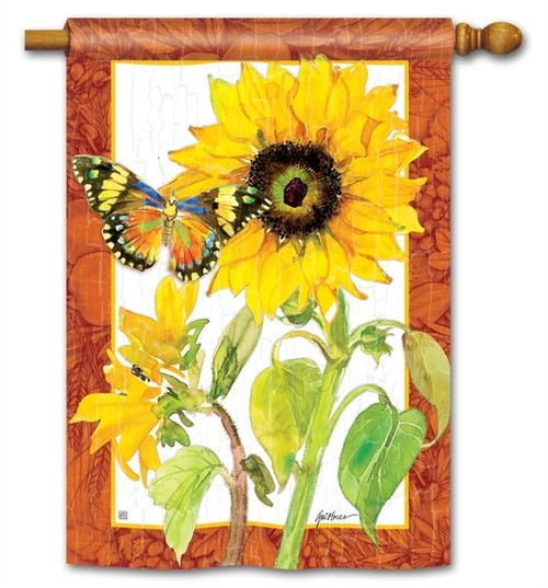 "Golden Sunflower House Flag - 28"" x 40"" - BreezeArt"