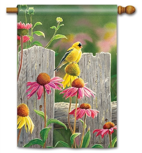 "Goldfinches and Coneflowers House Flag - 28"" x 40"" - BreezeArt"