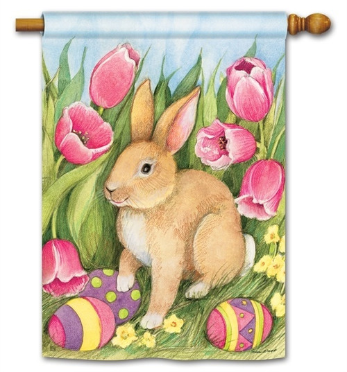 "Hiding the Eggs Easter House Flag - 28"" x 40"" - BreezeArt"