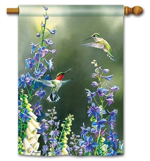 "Hummingbird Garden House Flag - 28"" x 40"" - BreezeArt"