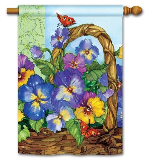 "Pansy Basket House Flag - 28"" x 40"" - BreezeArt"