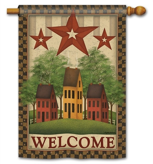 "Saltbox Houses House Flag - 28"" x 40"" - BreezeArt - 2 Sided Message"