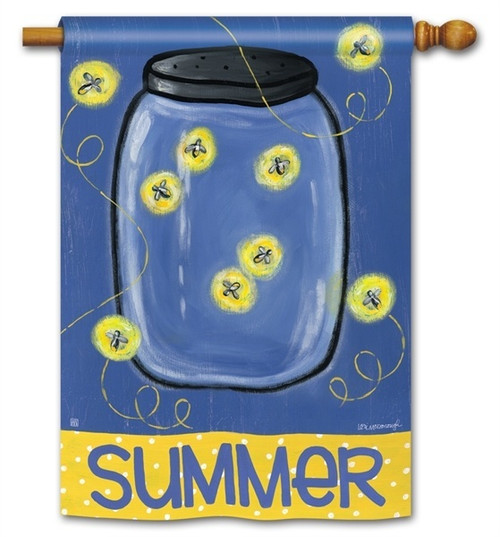 "Summer Fireflies House Flag - 28"" x 40"" - BreezeArt - 2 Sided Message"