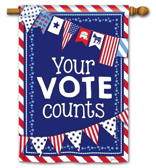 "Your Vote Counts House Flag - 28"" x 40"" - BreezeArt"
