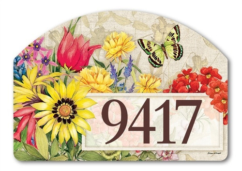 "Botanical Garden Yard DeSign Address Sign - 14"" x 10"""
