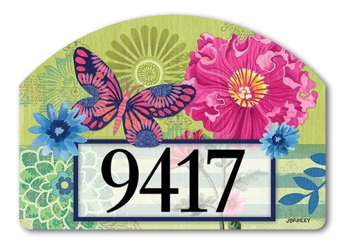 "Capistrano Peony Yard DeSign Address Sign - 14"" x 10"""