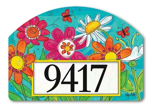 "Welcome Blooms Yard DeSign Address Sign - 14"" x 10"""