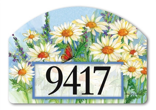 "Shasta Daisies Yard DeSign Address Sign - 14"" x 10"""