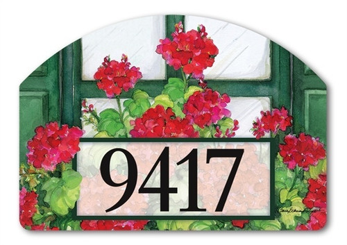 "Window Box Geraniums Yard DeSign Address Sign - 14"" x 10"""