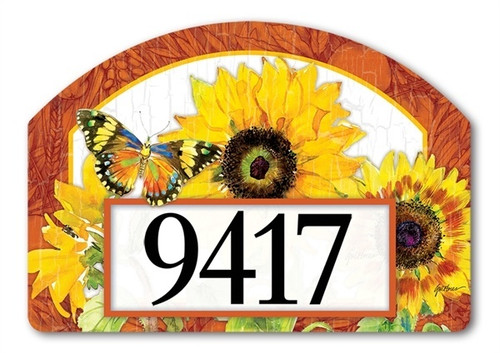 "Golden Sunflower Yard DeSign Address Sign - 14"" x 10"""