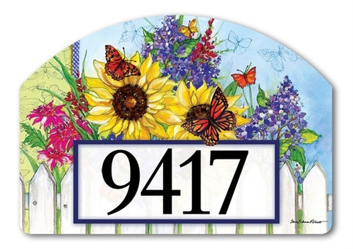 "Butterflies and Blossoms Yard DeSign Address Sign - 14"" x 10"""