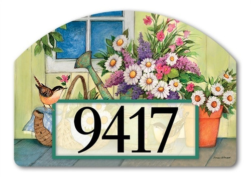 "Front Porch Flowers Yard DeSign Address Sign - 14"" x 10"""