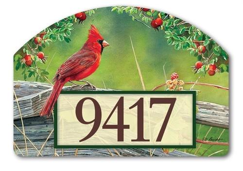 """Cardinal Lookout Yard DeSign Address Sign - 14"""" x 10"""""""